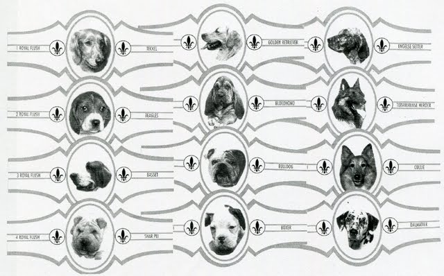 1995 Royal Flush Cigar Bands Dogs (grey border)