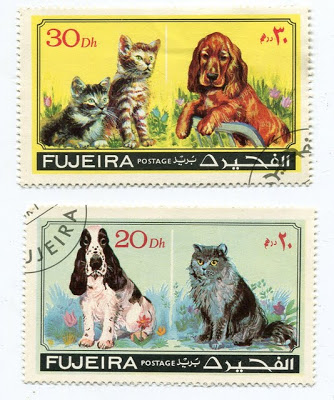 1971 Fujeira Dogs and Kittens Postage Stamps