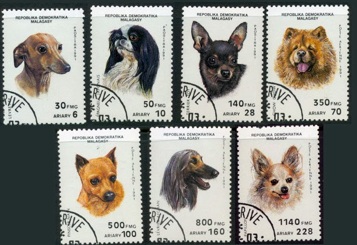 1991 MALAGASY postage stamp Dogs